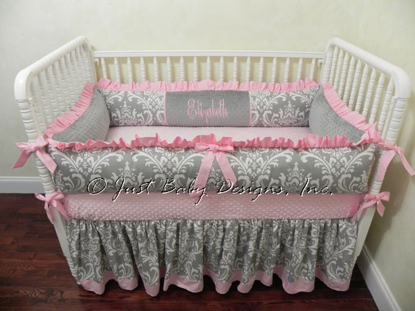 Pink And Gray Crib Bedding Set Elizabeth Girl Baby Bedding