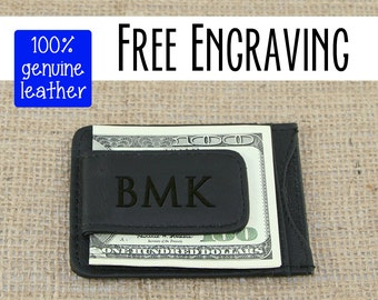 Mens Wallet, Engraved Leather Wallet, Personalized Custom Engraved Money Clip, Groomsman Gift, Monogrammed Gift