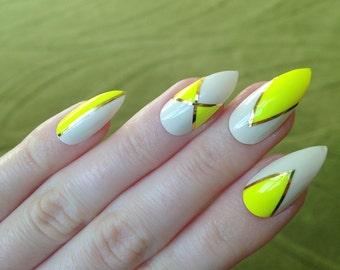 Neon yellow false nails, Nail designs, Nail art, Nails, Stiletto nails, Acrylic nails, Pointy nails, Fake nails, False nails