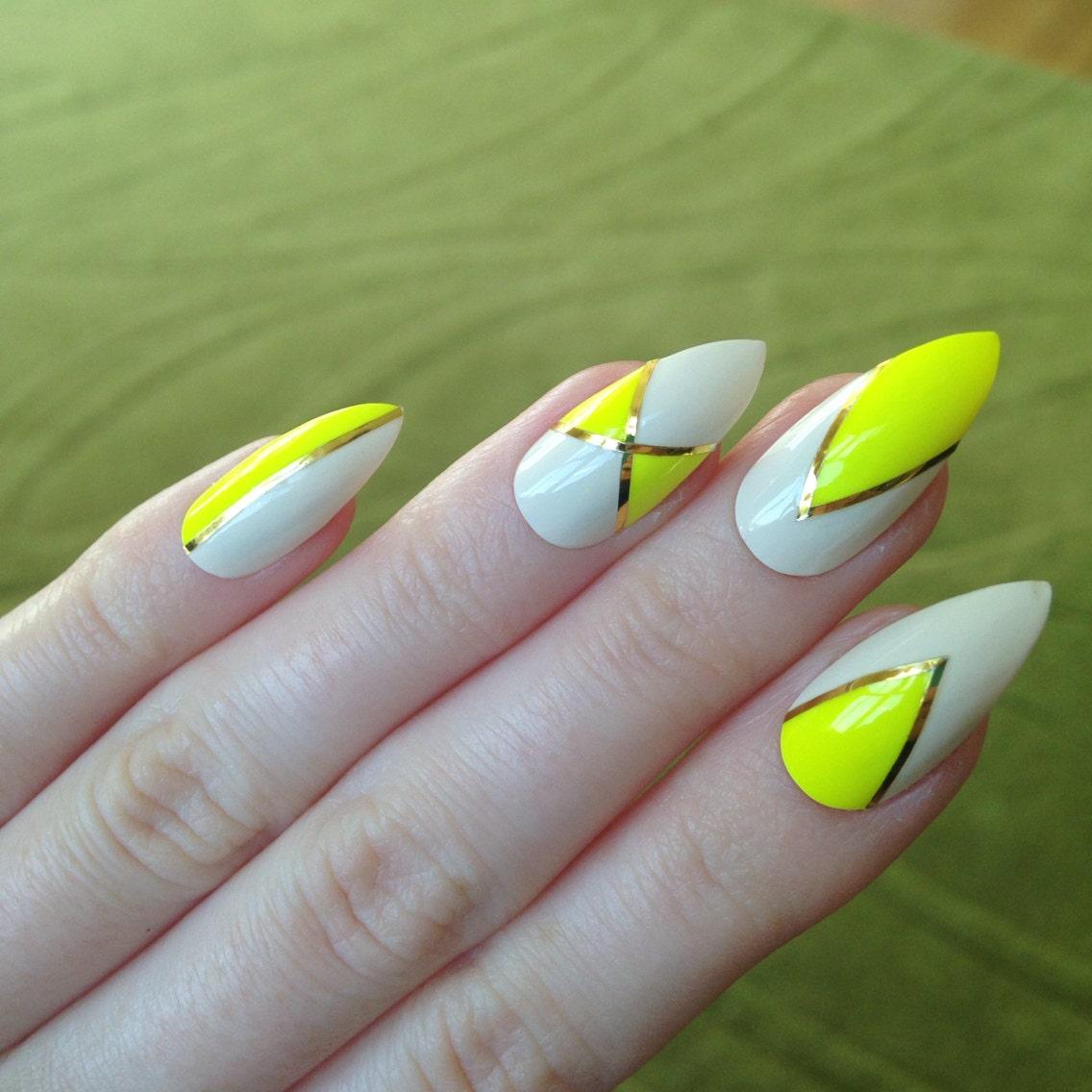 Neon yellow false nails Nail designs Nail by ...