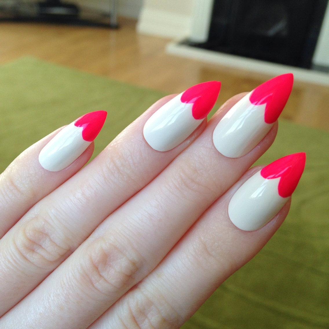 Heart Tip Stiletto Nails