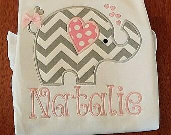 Cute Valentine Elephant Applique Shirt, Valentine Applique Shirt, Girls Valentine Outfit, Girls Applique Valentine shirt, Girls Personalized