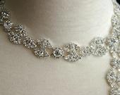 Authentic Crystal Rhinestone Trim, Rhinestone Applique, Bridal Applique,Wedding Applique, Sash Applique, Bouquet Handle, DIY Wedding, CR-023