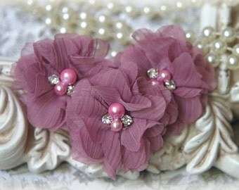 Mauve Chiffon Flowers with Pearls and Rhinestone Center, for , Clothing, Sashes, Set of 3, approx. 2 inches across, FL-174