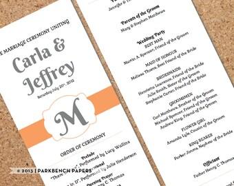 Printable Wedding Program Template- Orange and Grey Ribbon