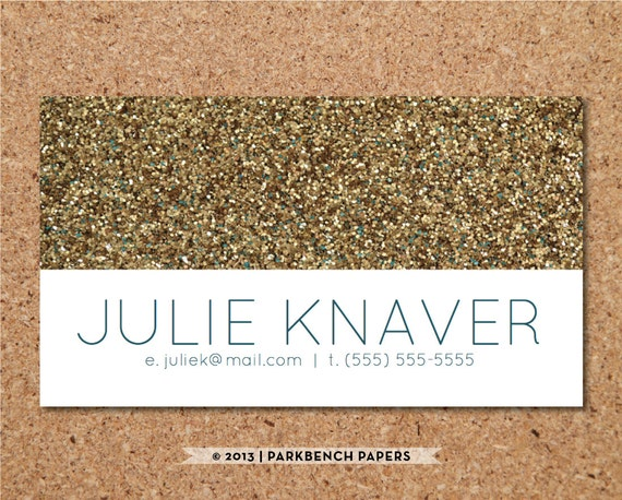 Business Card Template Gold Glitter DIY Editable Word