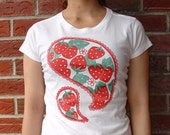 """Organic cotton women's  Tee, """"Strawberry"""", Limited edition"""
