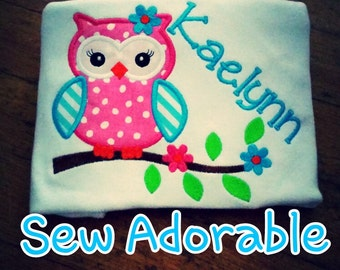 Personalized Owl shirt, bright owl shirt,
