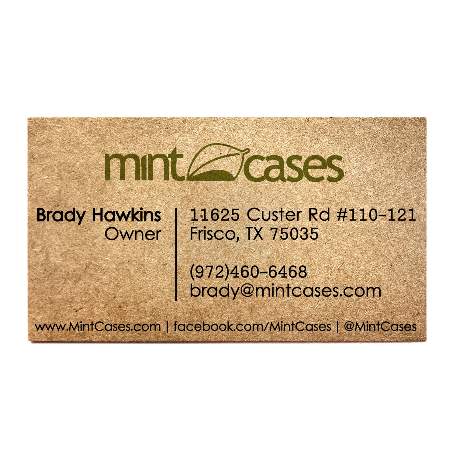 Rustic business cards Designed e side printed Kraft
