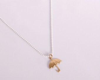 White Enameled Golden Umbrella Necklace