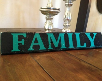 Rustic FAMILY Distressed Wooden Sign - Handcrafted Wall Decor - Family Room Sign