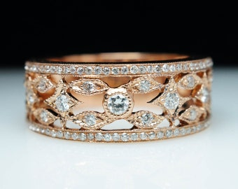 Vintage Style Diamond Rose Gold Wedding Band Ring Wide Band