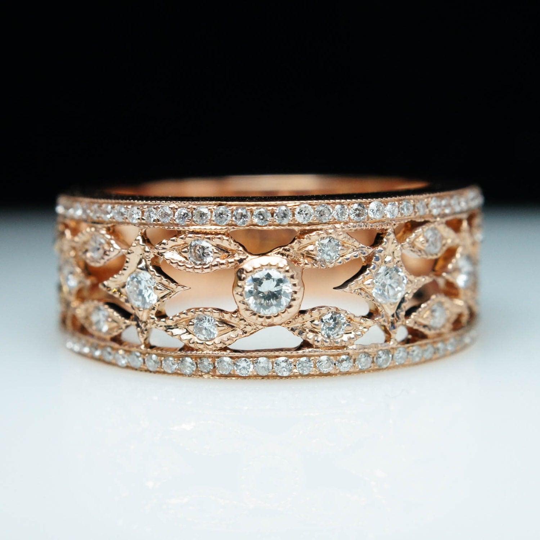 Vintage Style Diamond Rose Gold Wedding Band Ring Wide Band