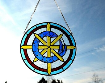 Custom Made Stained Glass Round Hanging Suncatcher Panel of School Letter