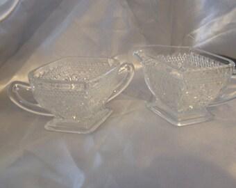 Diamond Indiana Glass Sugar Creamer Set