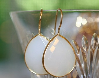 White onyx gold bezel set earrings, white agate earrings, dangle earrings, everyday earrings. statement earrings, new listing