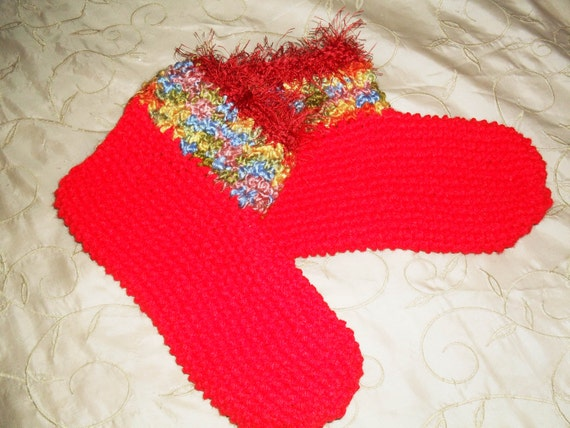 Hand crocheted yarn slipper/socks in red with multi colored