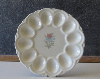 """Steubenville Pottery Fairlane Pattern, Blue Lotus Flower """"Deviled Egg"""" Platter SPF1"""