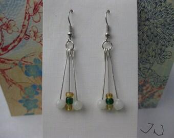Jade and Crystal Stainless Steel Earrings