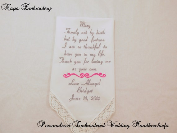 Wedding Gift For Dad And Stepmom : Wedding GIFTS for STEP MOTHER Embroidered Handkerchiefs Personalized ...