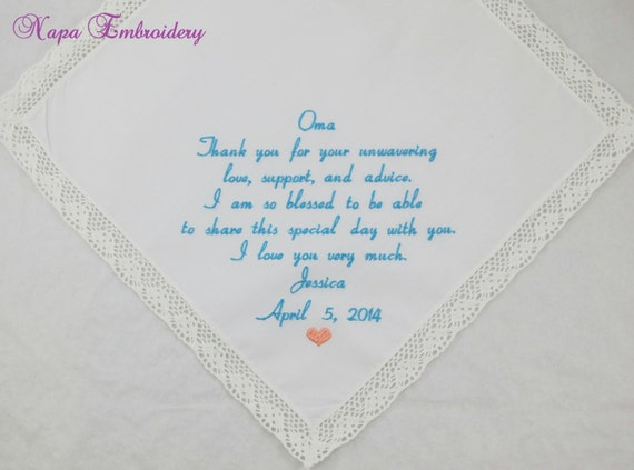 Grandmother Wedding Gift: Gift For Grandma Of The Bride Embroidered Wedding Hankerchief