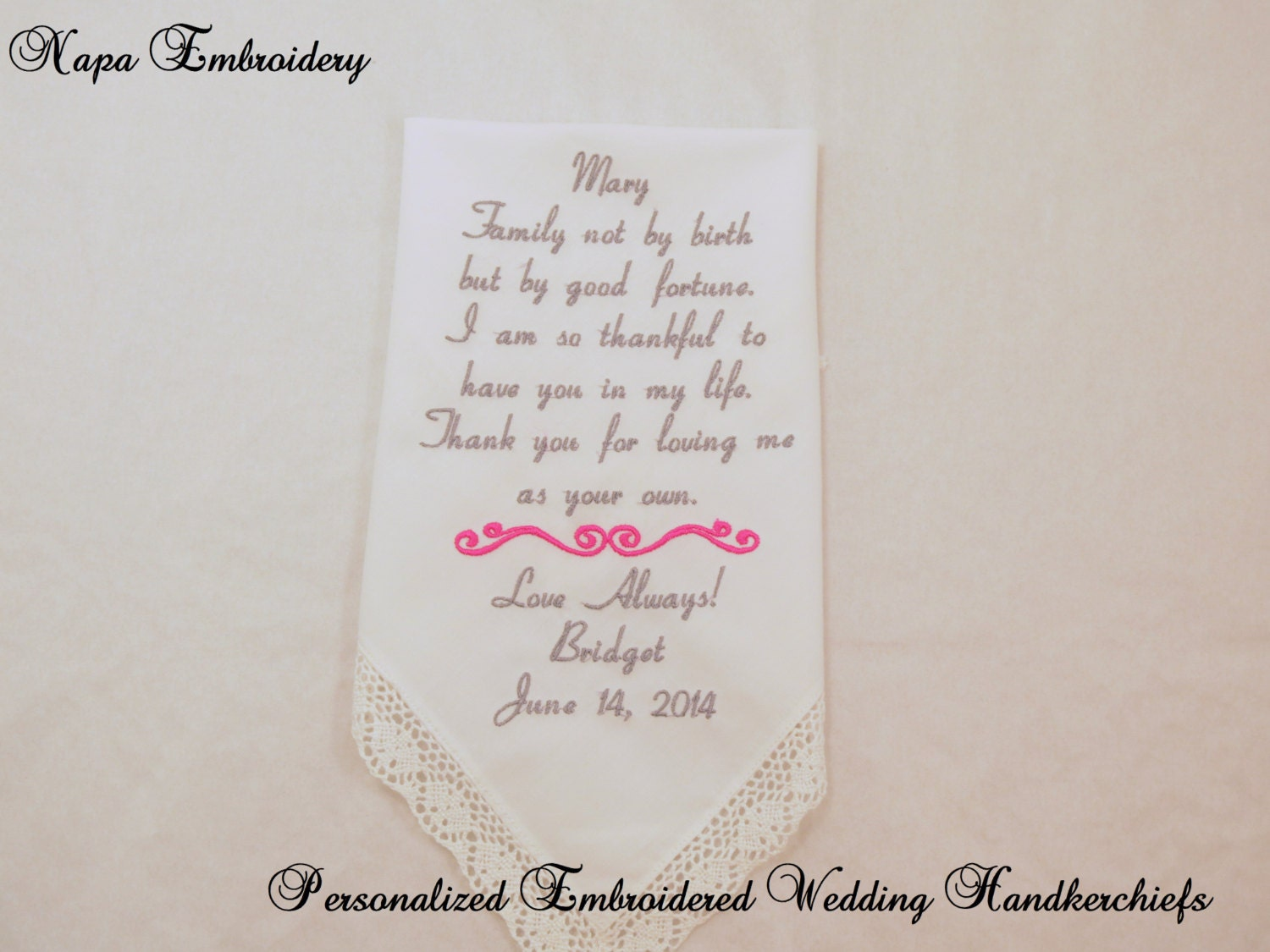 Gift For Stepson On Wedding Day : Wedding GIFTS for STEP MOTHER Embroidered Handkerchiefs