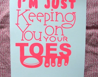 Handpulled 6 x 8 Toes Print in Pink on White