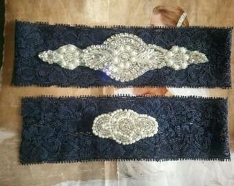 Wedding Garter Set - Pearl and Rhinestone Garter Set on a Navy Blue Lace Garter Set  - Style G20700
