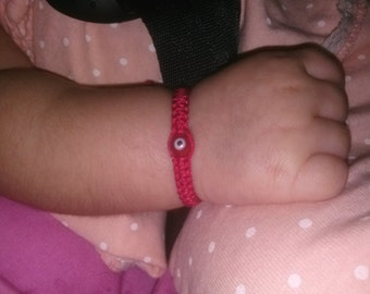 Baby Red String Bracelet, Red evil eye,good luck charm.