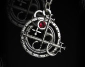 Seal Sigil of Lilith pendant, with Ruby, Garnet, Labradorite, Moonstone, Emerald, Sapphire, Onyx or other gemstone