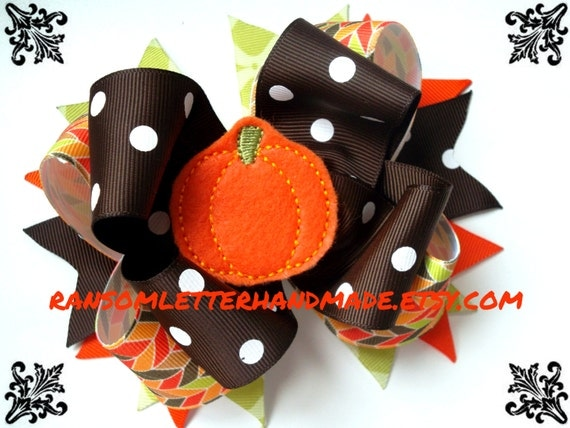 Handmade Grosgrain Ribbon Autumn Party Halloween Stacked Bow Clip