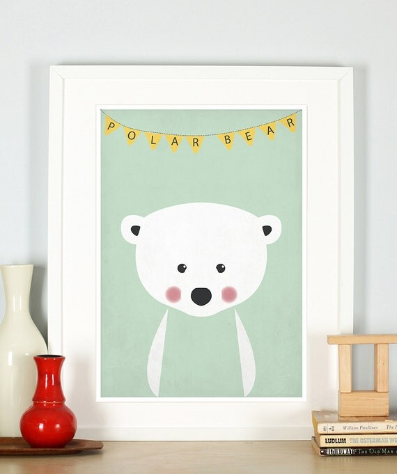 nursery wall art polar bear nursery art kids room decor. Black Bedroom Furniture Sets. Home Design Ideas