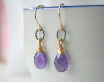 Amethyst Drop Earrings 14k gold filled and  Sterling Silver, February Birthstone Jewelry,