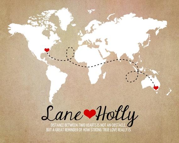 Long distance world map rustic wedding gift art print like this item gumiabroncs Choice Image