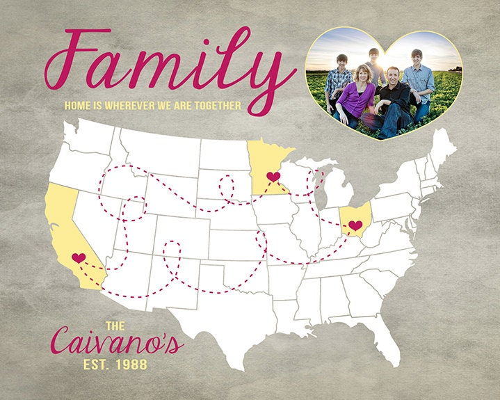 Family Gift Idea Us Map With Locations Of Family Members