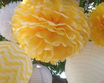 ELEPHANT THEME /5 Tissue Paper Pom Poms/3 Paper Lanterns / Baby Shower, Birthday, Wedding, Bridal Shower, Nursery Decor