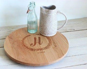 Custom Engraved Lazy Susan Cake Stand Centerpiece - Monogram Floral Wreath Design