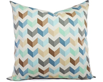 2 Chevron Decorative Pillows in Brown Blue and Mint - Chevron Pillow Covers - Chevron Pillows - Geometric Pillow - Accent Pillow