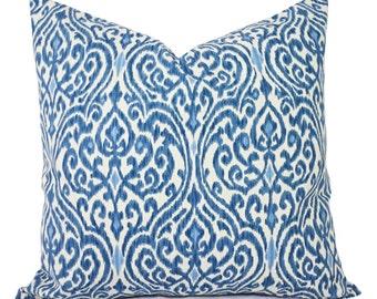 Decorative Pillows - Two Decorative Pillow Covers - Blue and Beige Ikat - 12x16 12x18 14x14 16x16 18x18 20x20 22x22 24x24 26x26 Pillows