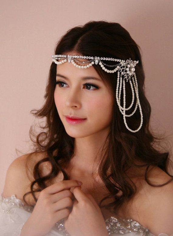 Gatsby Flapper Bridal Crystal Rhinestone Headband, Vintage Bohemian Wedding Beaded Pearl Chain Headpiece, Hair Halo headchain Accessories