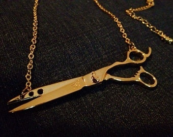Shears necklace for Hairstylists, Hairdressers, and Barbers. Scissors w split chain in Gold.