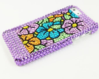 Sale Studded iPhone 5 5 g five bling studded case purple pearl flowers protective hard case