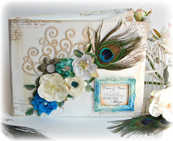 Unique Luxury Wedding Gifts : Custom Luxury Personalised Shabby Chic PEACOCK Wedding Guest Book Hen ...