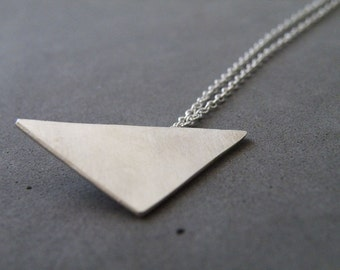 Silver Triangle Necklace Modern Geometric Necklace Minimalist Sterling Silver Jewelry by SteamyLab