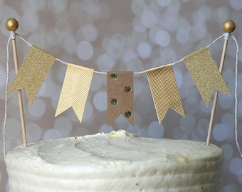 Gold & Kraft Polka Dot Cake Bunting Pennant Flag Cake Topper-MANY Colors to Choose From!  Birthday, Wedding, Shower Cake Topper