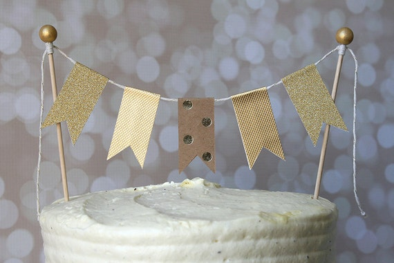 Gold & Kraft Polka Dot Cake Bunting Pennant Flag Cake Topper-MANY Colors to Choose From!  Birthday, Wedding, Shower Cake Topper