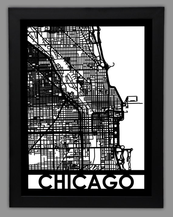 "Chicago Laser Cut Map | 18x24"" Framed City Map 