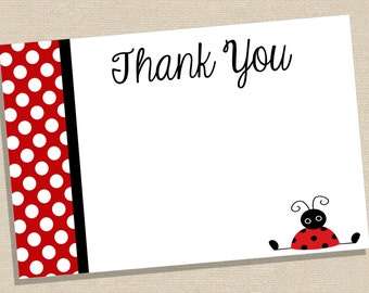 Thank You Cards - Ladybug Thank You Cards - Red Ladybug Thank You - Ladybug Birthday