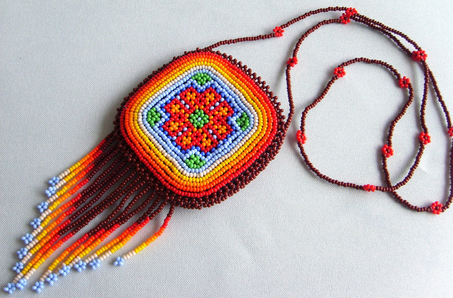 mexican huichol beaded necklace pouch