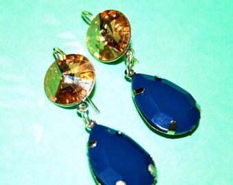 Gold Shadow Swarovski Crystal and Dark Blue Teardrop Earrings